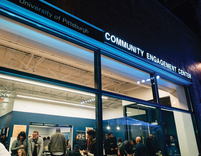 Looking from the outside into the Community Engagement Center in Homewood, Pennsylvania