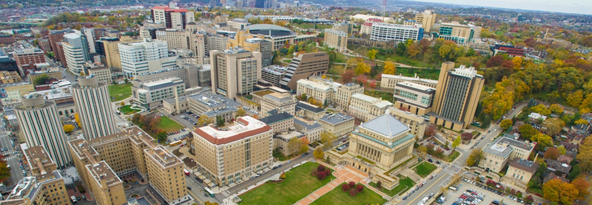 An aerial view of Oakland, including the Pitt Campus and UPMC buildings